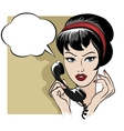 The girl speaking by phone with empty speech vector