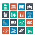 Silhouette heavy industry icons vector