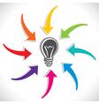 Color arrow point to new idea concept vector