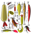 Set of artificial fishing lures vector