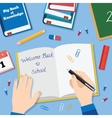 Back to school flat style background with books vector