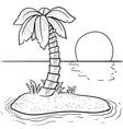 Doodle palm tree island vector