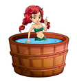 A mermaid inside the big wooden bathtub vector