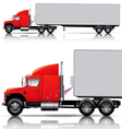 Red semi- truck with trailer vector