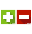 Plus and minus sign flat icon long shadow vector