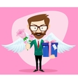 Young handsome man with wings flowers and gifts vector
