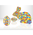 Colorful easter eggs and rabbit vector