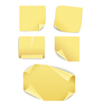 Blank yellow paper stickers collection vector