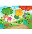 Family of animals in the wood vector
