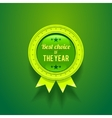 Green glossy badge vector