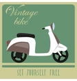 Vintage card of white scooter in retro style vector