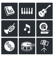 Music icons set on white background vector
