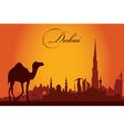 Dubai city skyline silhouette background vector