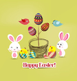 Easter eggs tree bunny and birds vector