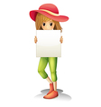 A girl wearing a hat holding an empty signage vector