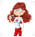 Cute hipster girl with a camera isolated on white vector