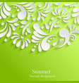 Abstract summer green background with 3d floral vector