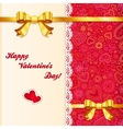 Valentines day lacy card with golden bows vector