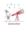 Astronomer looking through a telescope vector