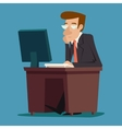 Businessman character at desk working on computer vector