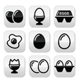 Egg fried egg egg box buttons set vector
