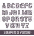 Sans serif font with the contours and lettering vector