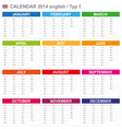 Calendar 2014 english type 1 vector