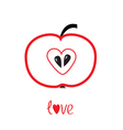 Red apple with heart shape love card vector