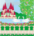 Landscape with a beautiful castle gardens and two vector