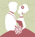 Bride and groom in love vector