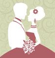 Bride and groom in love vector