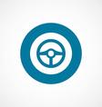 Steering wheel bold blue border circle icon vector