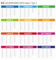 Calendar 2014 italy type 1 vector