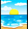 A beautiful view of the beach with a sun vector