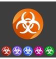 Biohazard flat icon badge vector