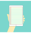 Note tablet hand on vector