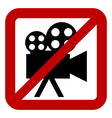 Sign of prohibition of video camera vector