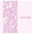 Pink flowers lineart vertical frame seamless vector