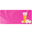 Pink banner with glass of juice vector