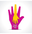 Happy mothers day with two hands of mother  child vector