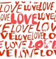Pattern with hand painted words love vector