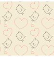 Seamless pattern - birds and hearts vector