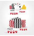 Casino chips money cards game set vector