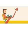 Man relaxing in growing business vector