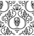 Vintage seamless ornament with skull vector