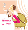 Vintage party flapper girl with sigaret vector