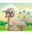 An ostrich in front of the ferris wheel vector