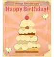 Vintage birthday card with big berry cake vector