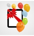 Digital tablet gift with balloons vector