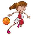 A girl playing basketball vector